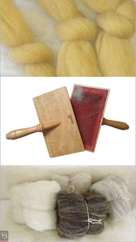 Laine cardée - Carde à main - Ballotin de laine cardée